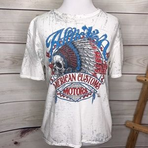 Affliction American Customs Motors Indian w/ Flag